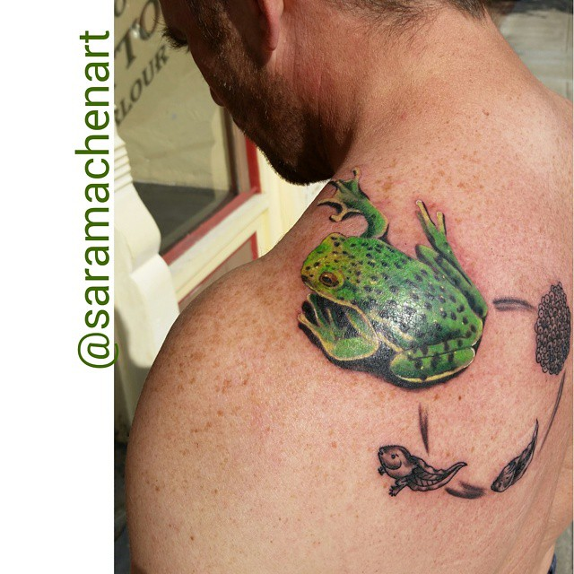 Color tree frog life cycle by Chcio Lou's Fine Tattoos in Athens GA