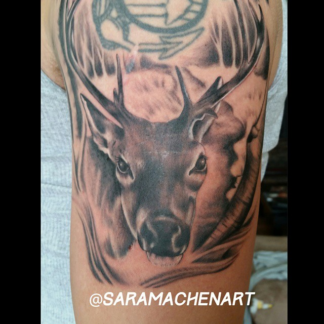 Black and gray deer by Chico Lou's Fine Tattoos in Athens GA
