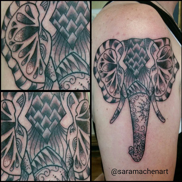 Black and gray elephant by Chico Lou's Fine Tattoos in Athens, GA