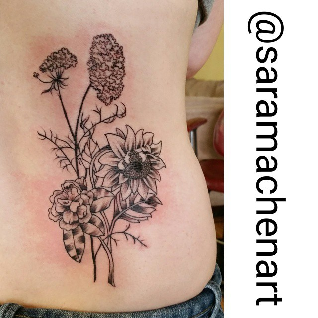 Black and gray flowers by Chico Lou's Fine tattoos in Athens Georgia GA