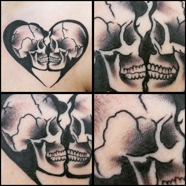 Black and gray heart and skulls by Chico Lou's Fine tattoos in Athens in Athens, GA