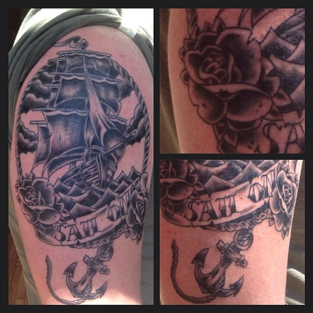 Black and gray tall ship by Chico Lou's Fine Tattoos in Athens, GA