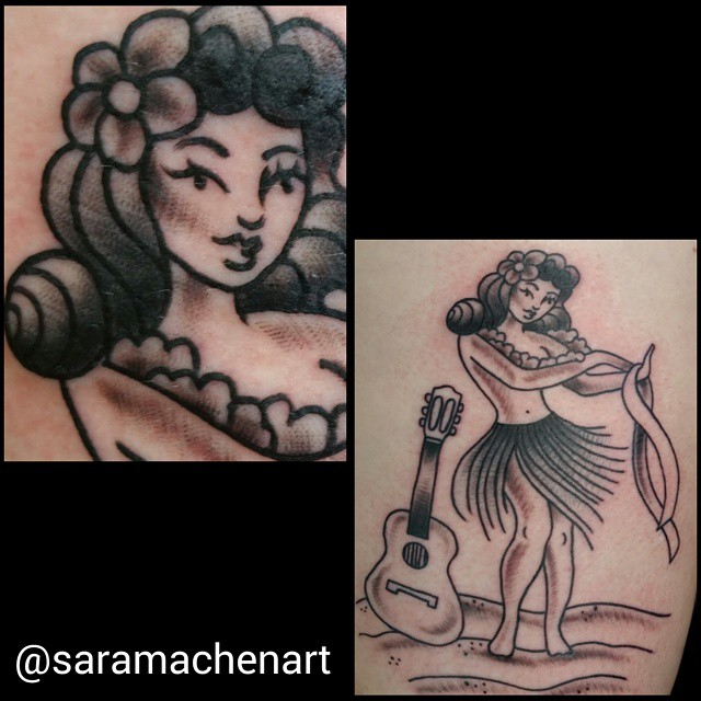 Black and gray traditional pinup by Chico Lou's Fine Tattoos in Athens GA
