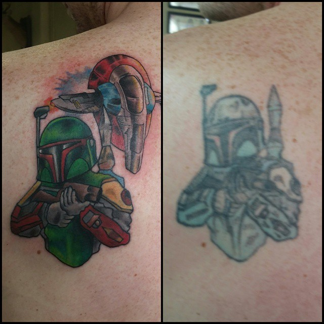 Boba Fett fix-up by Chico Lou's Fine Tattoos in Athens, GA