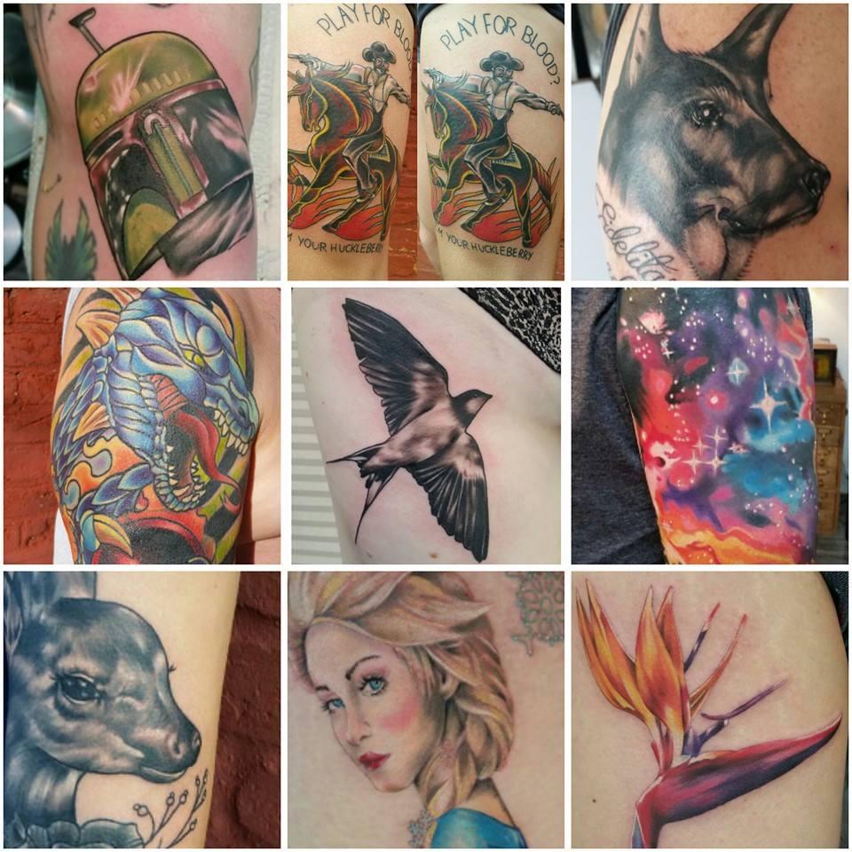 Collage by Chico Lou's Fine Tattoos shop in Athens Georgia GA. Artist - Sara Fogle