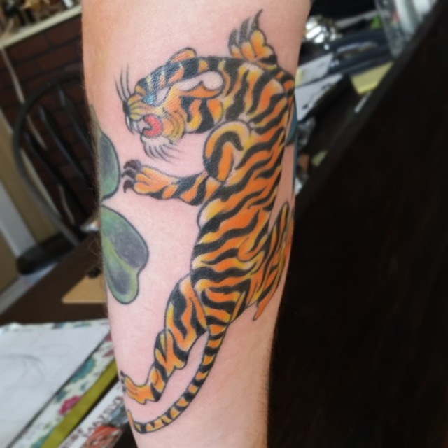 American classic traditional tiger by Chico Lou's Fine Tattoos in Athens, GA