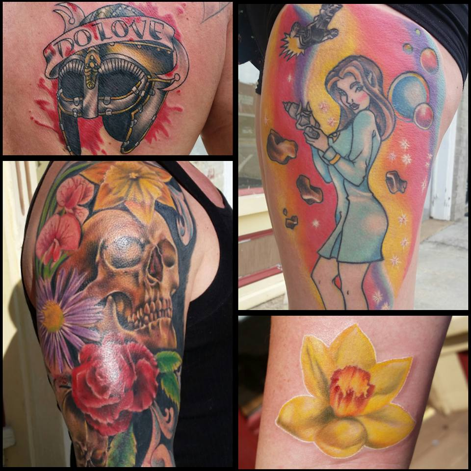 tattoo collage by Sara at Chico Lou's Fine Tattoos in Athens, GA