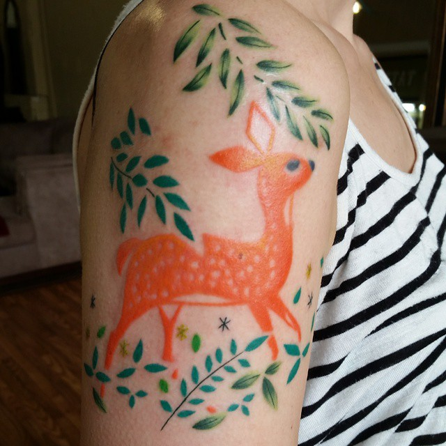 Color Bambi by Chico Lou's Fine tattoos in Athens, GA