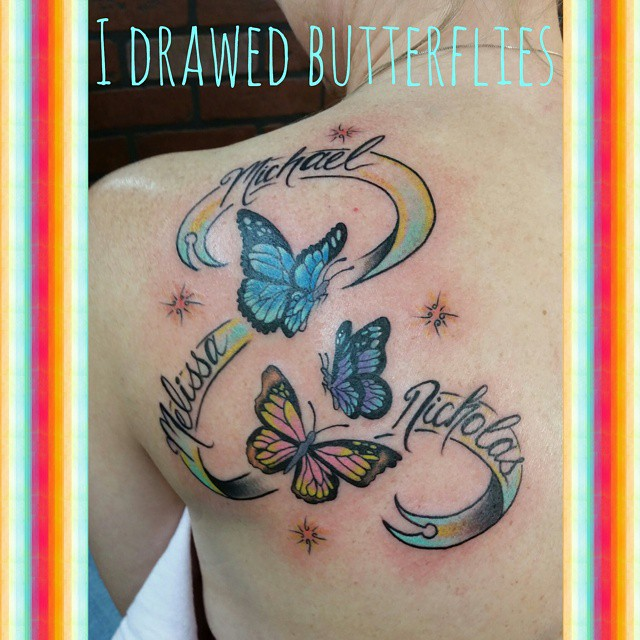 Color butterflies by Chico Lou's Fine Tattoos in Athens, GA