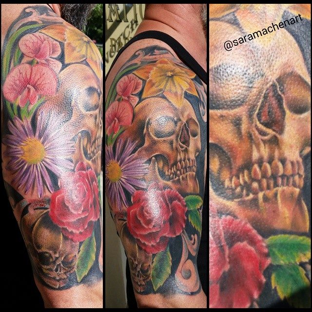 Color flowers and skulls by Chico Lou's Fine Tattoos in Athens Georgia GA
