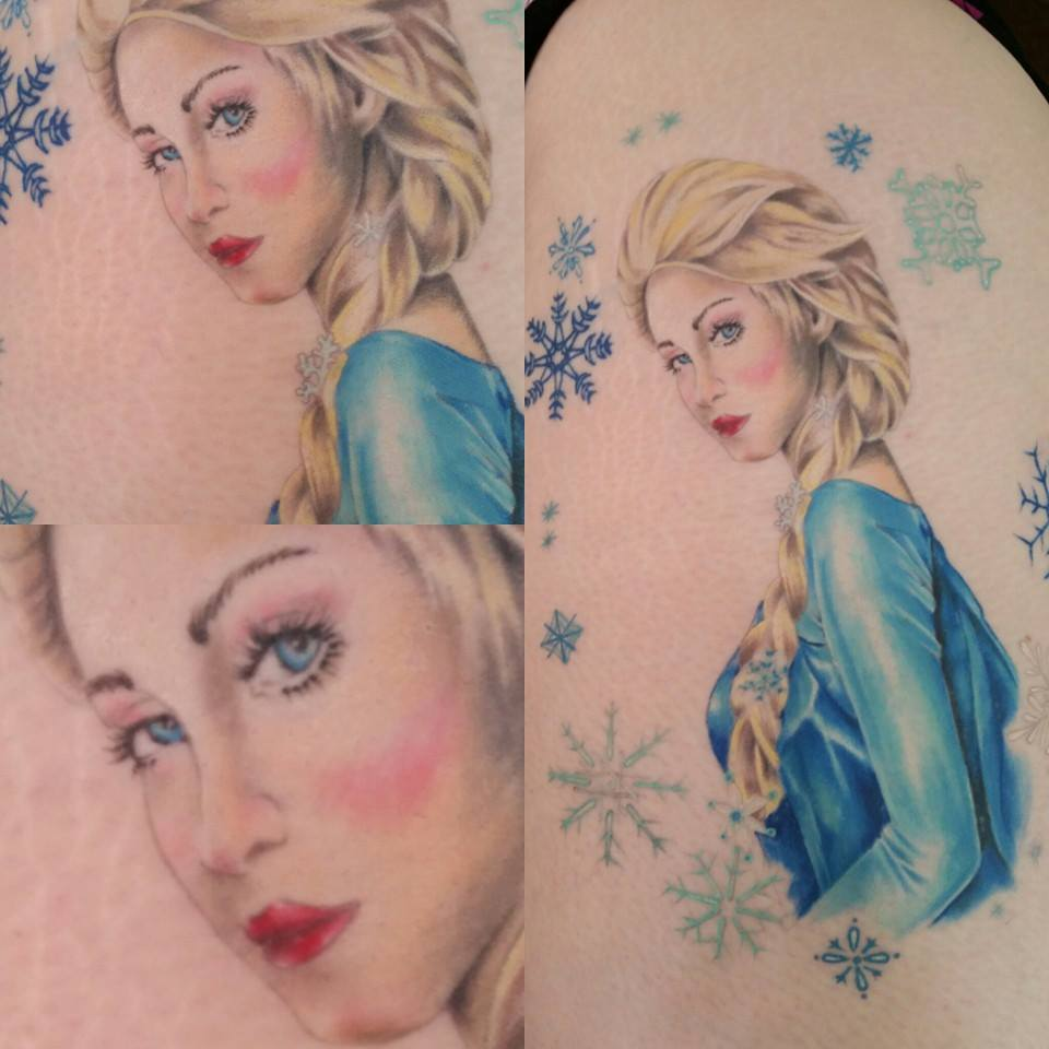 Frozen Elsa by Chico Lou's Fine Tattoos in Athens Georgia GA