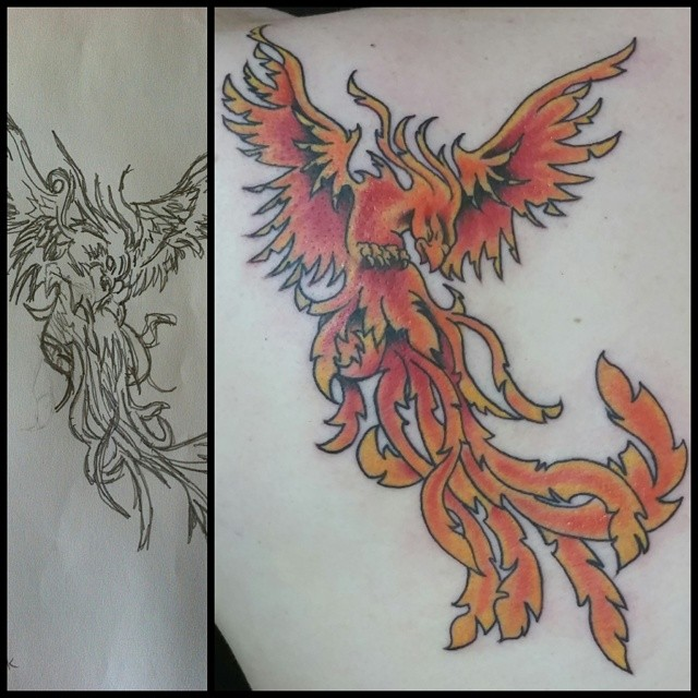 Color phoenix based on a client's drawing by Chico Lou's Fine Tattoos in Athens, GA