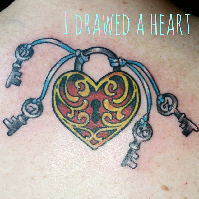 Heart lock and keys by Chico Lou's Fine Tattoos in Athens, GA