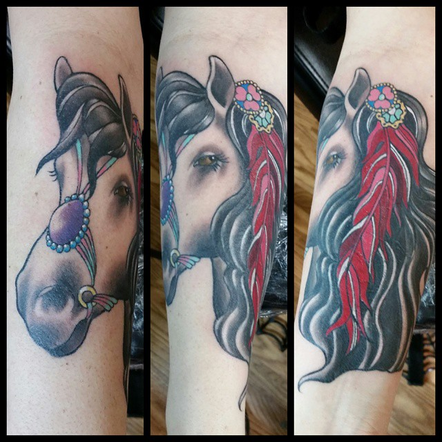 Horse coverup by Chico Lou's Fine Tattoos in Athens, GA