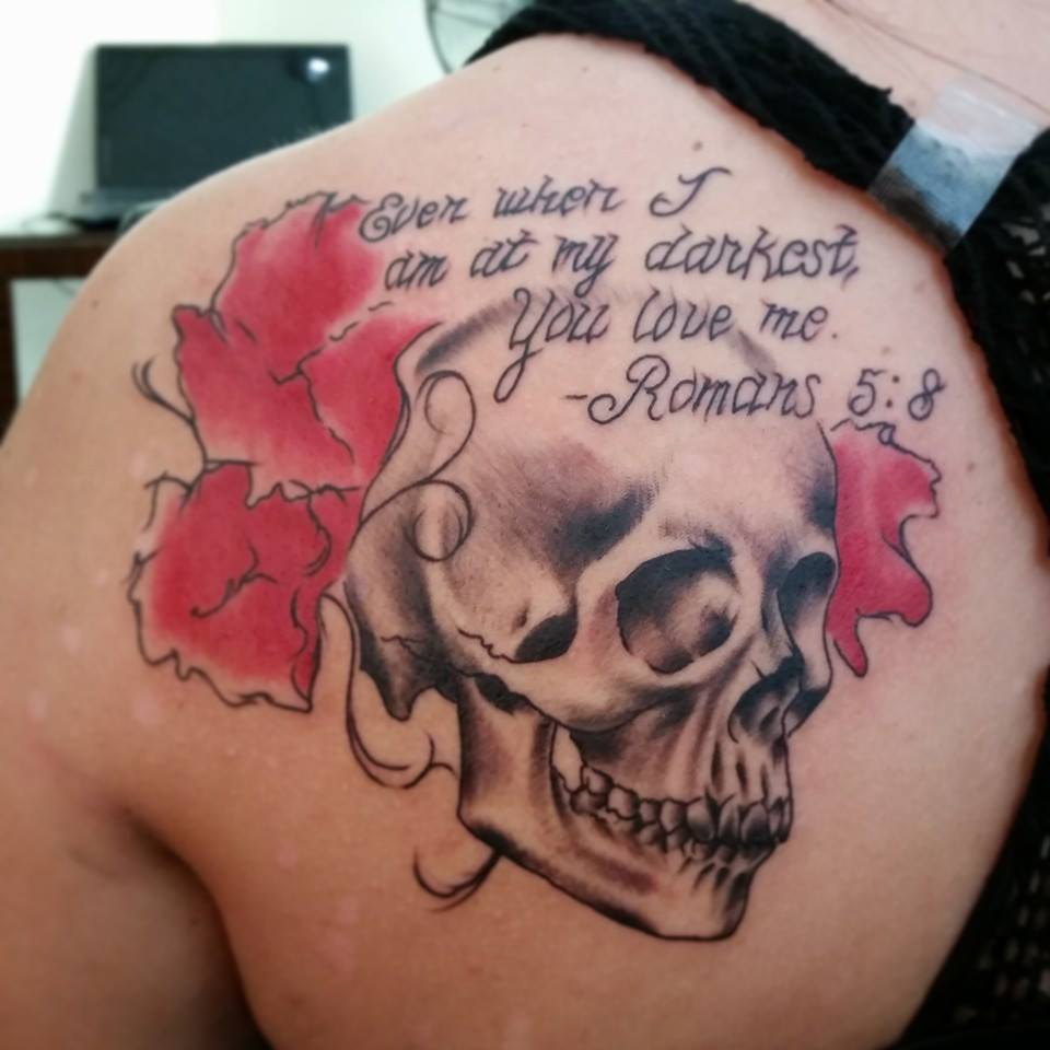 Skull and bible verse by Chico Lou's Fine Tattoos in Athens, GA