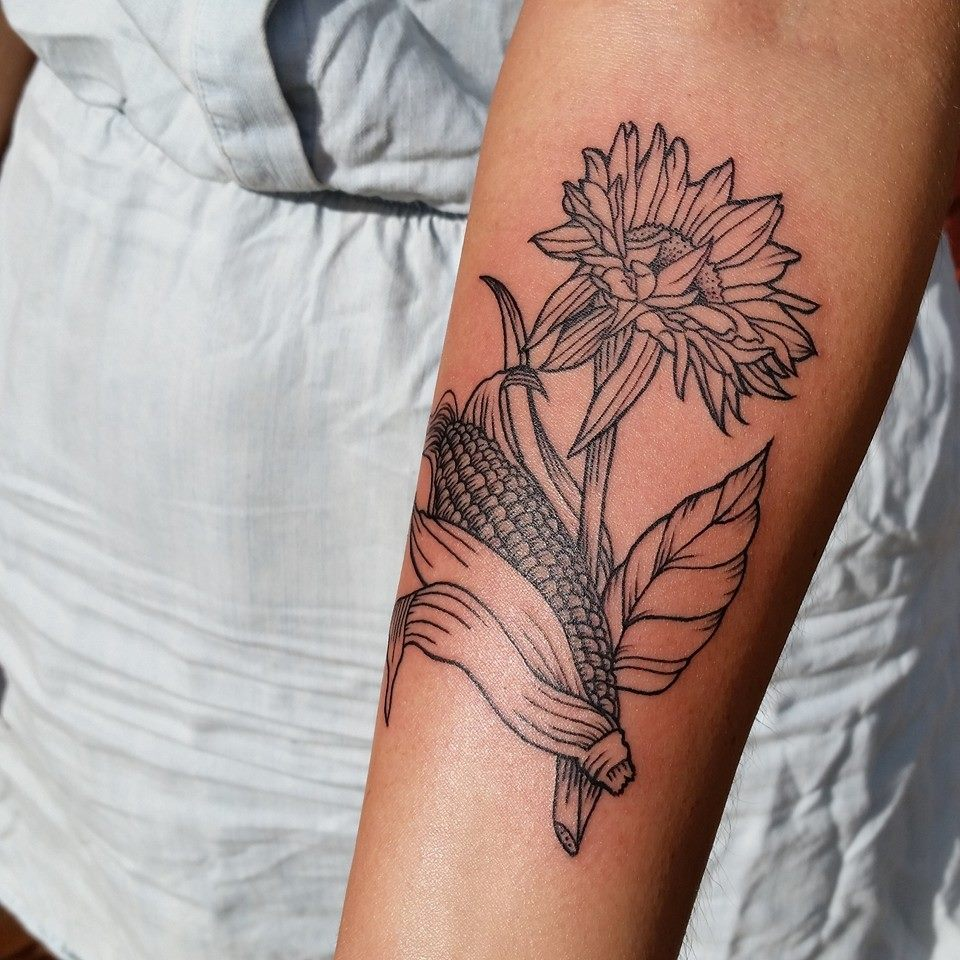 Flowers and corn by Chico Lou's Fine Tattoos in Athens, Georgia GA
