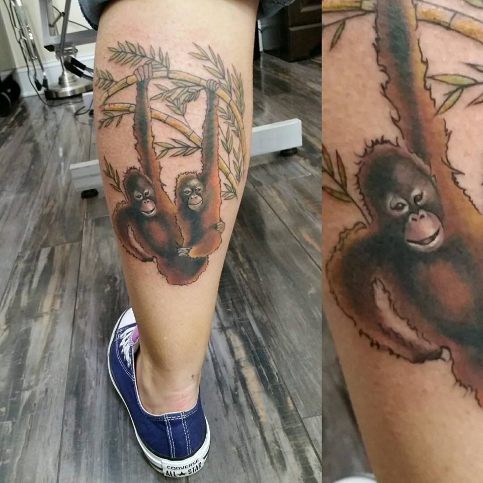 color orangutan monkey by Chico Lou's Fine tattoos in Athens GA