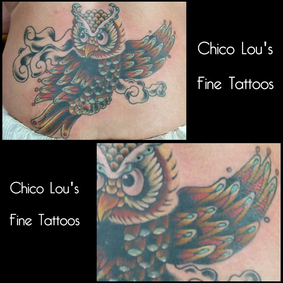 Owl coverup by Chico Lou's Fine Tattoos in Athens Georgia GA
