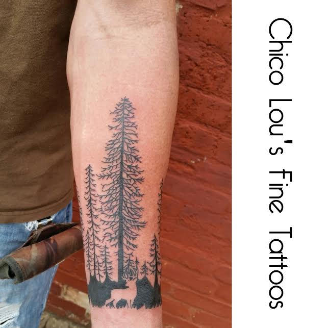 negative space buck in the forest by Chico Lou's Fine Tattoos in Athens Georgia GA