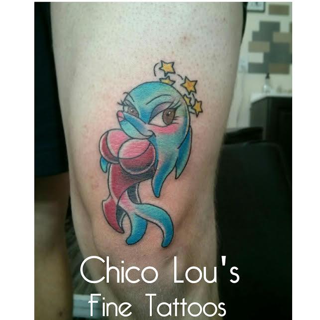 New school Jessica Rabbit dolphin by Chico Lou's Fine Tattoos in Athens Georgia GA