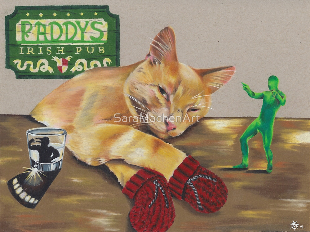 Pete The Pub Cat by Athens Georgia GA artist Sara Fogle of Chico Lou's Fine Tattoos shop