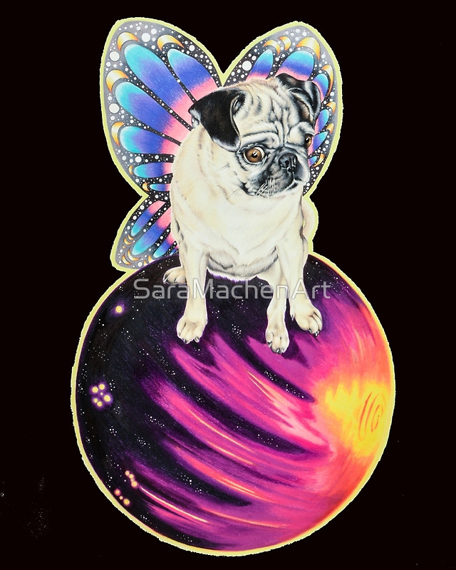 Puggerfly in Space by Athens Georgia GA artist Sara Fogle of Chico Lou's Fine Tattoos shop