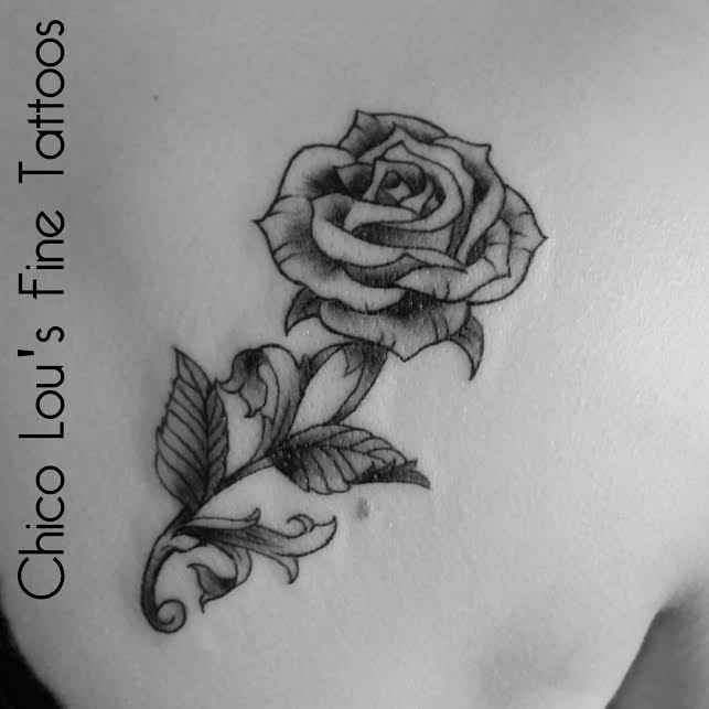 Customer designed rose by Chico Lou's Fine Tattoos in Athens Georgia GA