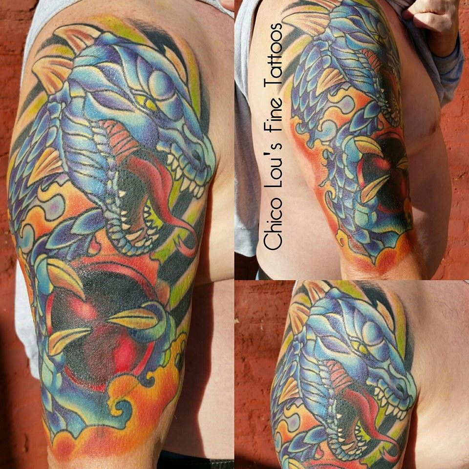 Finished Dragon coverup (more angles) by Chico Lou's FIne Tattoos in Athens Georgia GA