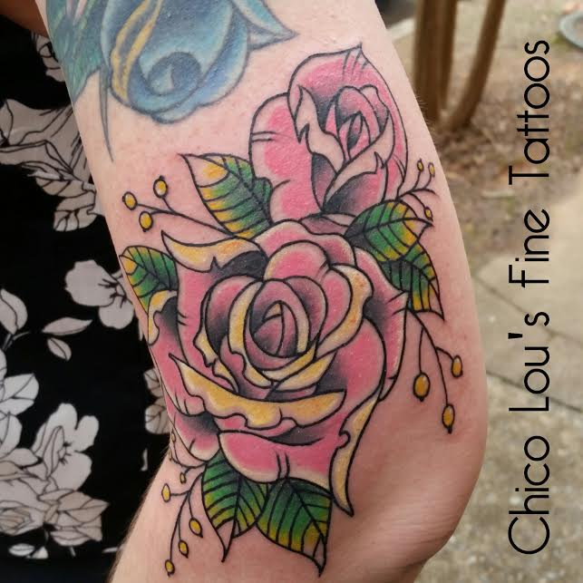 Color roses 1st session by Chico Lou's Fine Tattoos in Athens Georgia GA