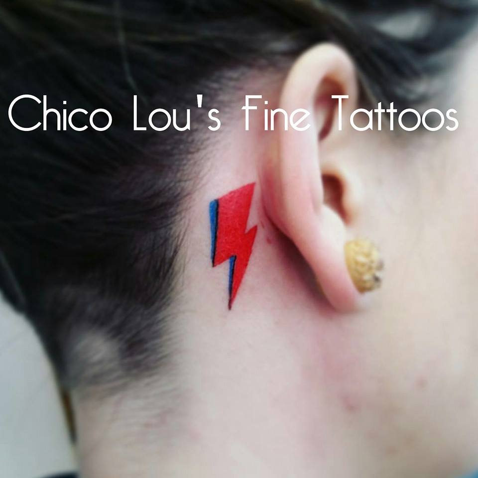 David Bowie Aladdin Sane lightning bolt tribute by Chico Lou's Fine Tattoos in Athe Georgia GA. Artist - Sara Fogle