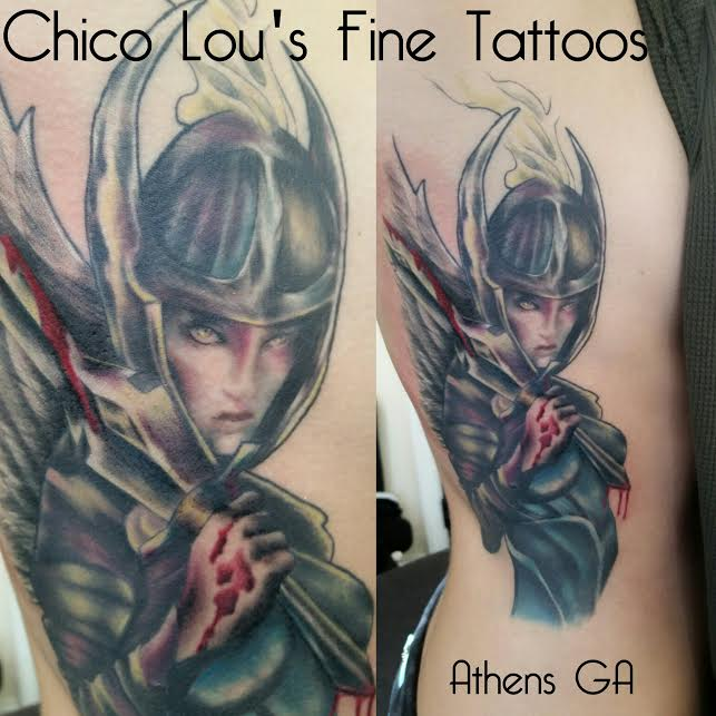 Finished valkyrie by Chico Lou's Fine Tattoos shop in Athens Georgia GA. Artist - Sara Fogle