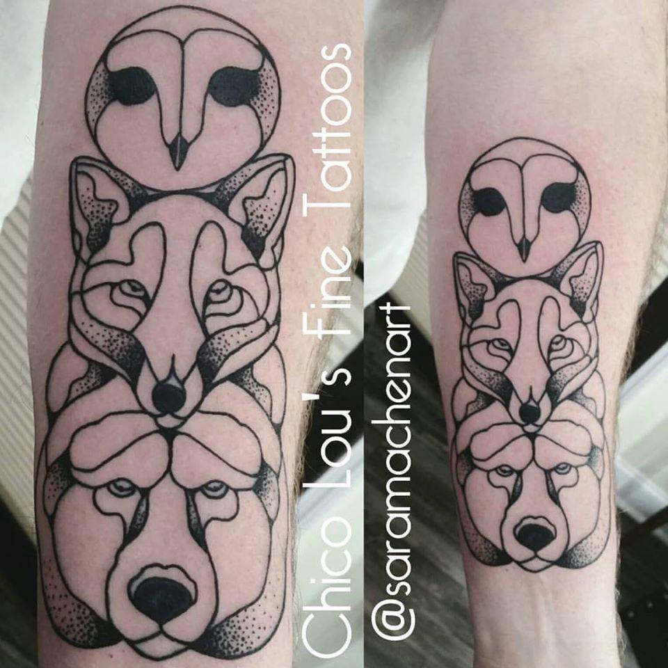 Owl, fox, and bear totem by Chico Lou's Fine Tattoos in Athens Georgia GA. Artist - Sara Fogle