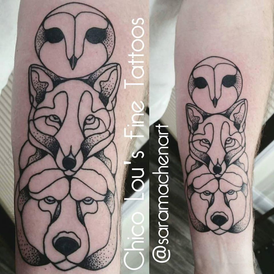 Owl, fox, and bear totem by Chico Lou's Fine Tattoos in Athens Georgia GA. Artist - Sara Fogle