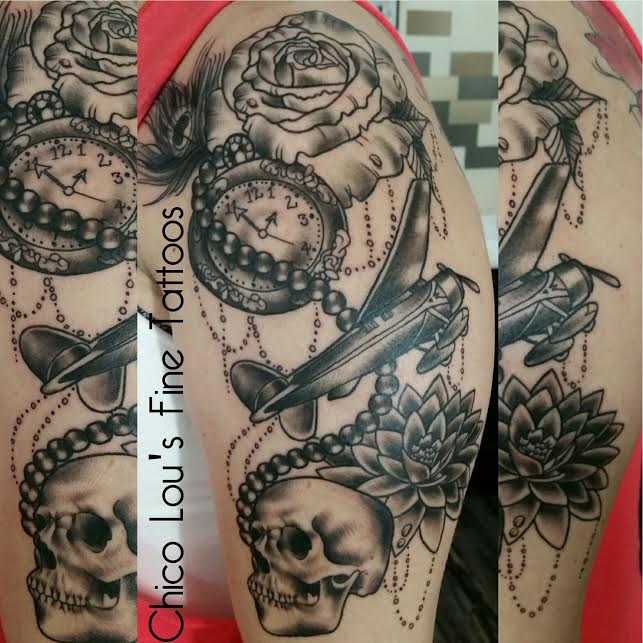 Rose watch plane skull half sleeve by Chico Lou's Fine Tattoos in Athens Georgia GA