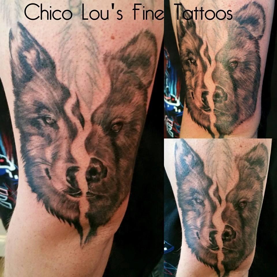 Wolf and Bear add-on by Chico Lou's Fine tattoos in Athens Georgia GA. Artist - Sara Fogle
