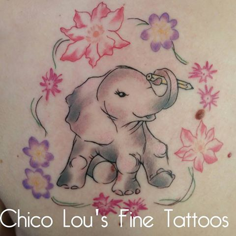 Baby elephant artist and flowers by Chico Lou's Fine Tattoos shop in Athens Georgia GA. Artist - Sara Fogle
