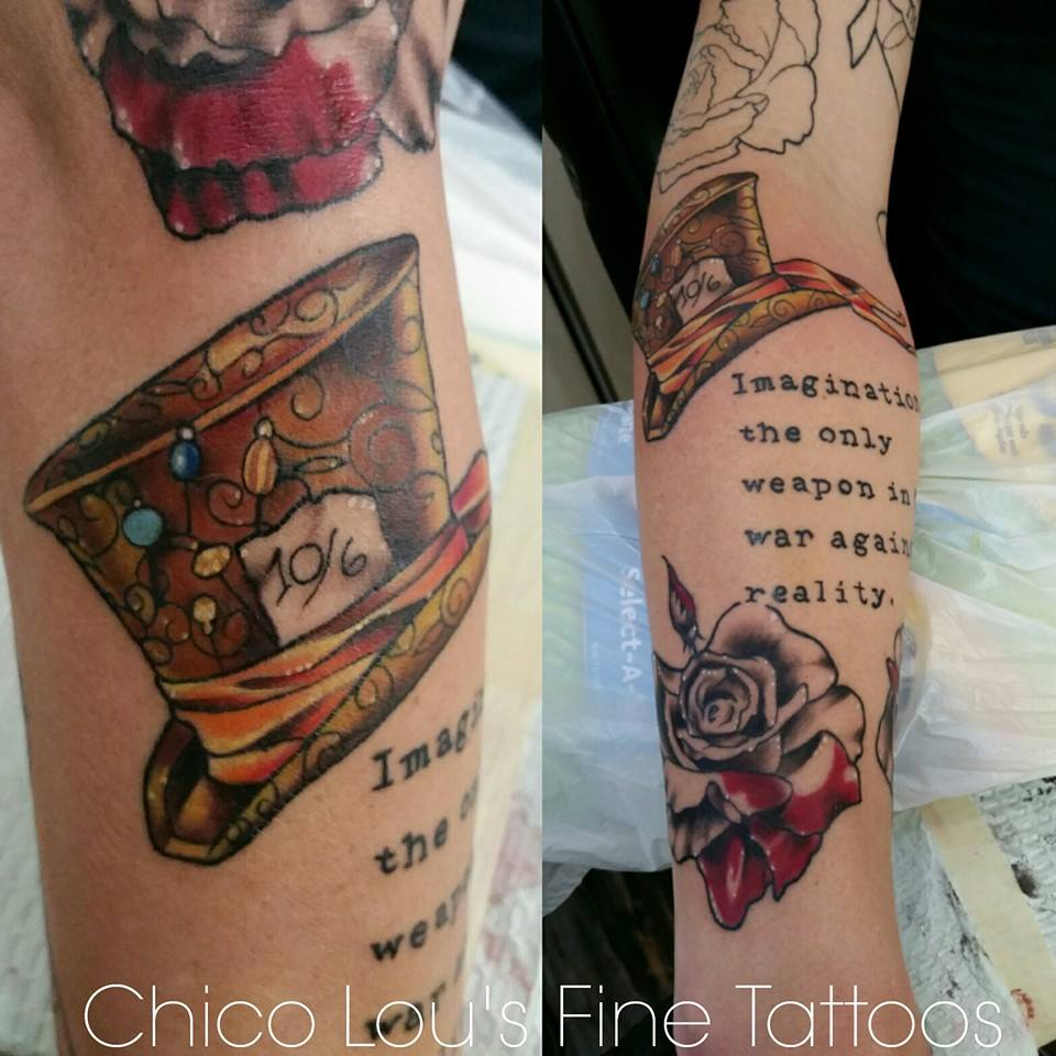 Alice in Wonderland color details 2 by Chico Lou's Fine Tattoos shop in Athens Georgia GA. Artist - Sara Fogle