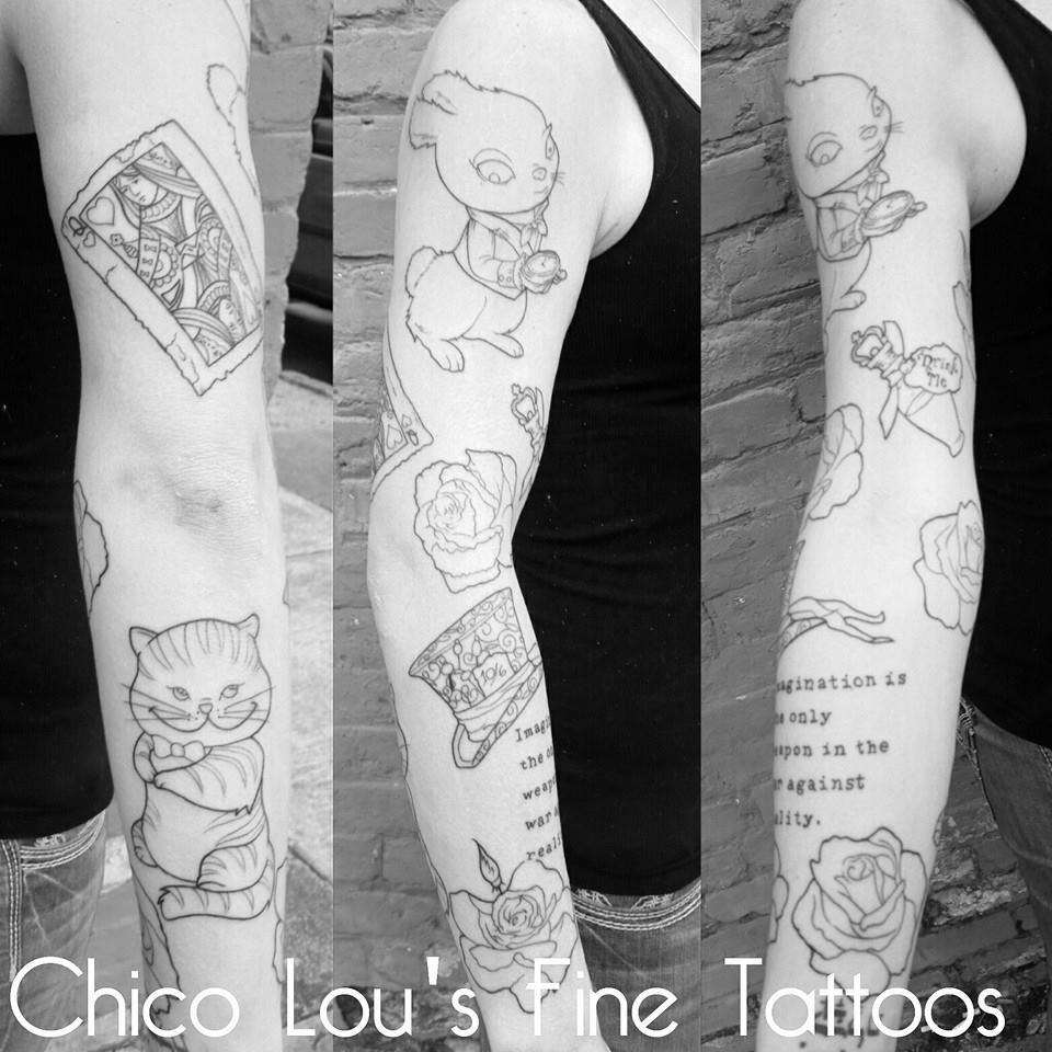 Alice in Wonderland sleeve linework by Chico Lou's Fine Tattoos shop in Athens Georgia GA. Artist - Sara Fogle