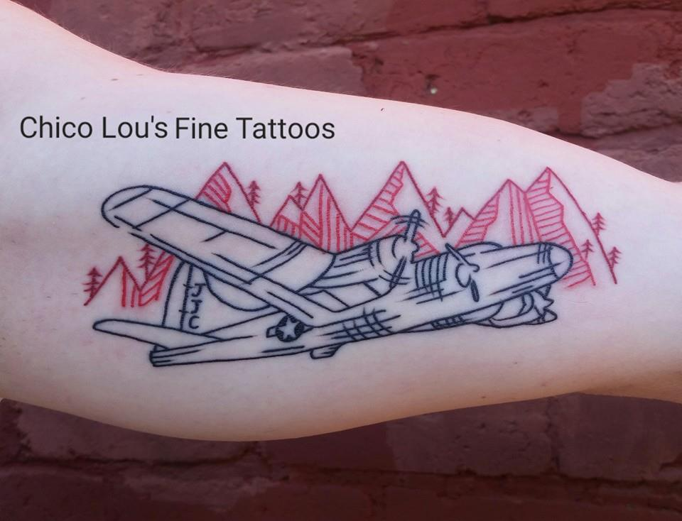 B-17 Flying Fortess Bomber for Grandpa by CHico Lou's Fine Tattoos shop in Athens Georgia GA. Artist - Sara Fogle