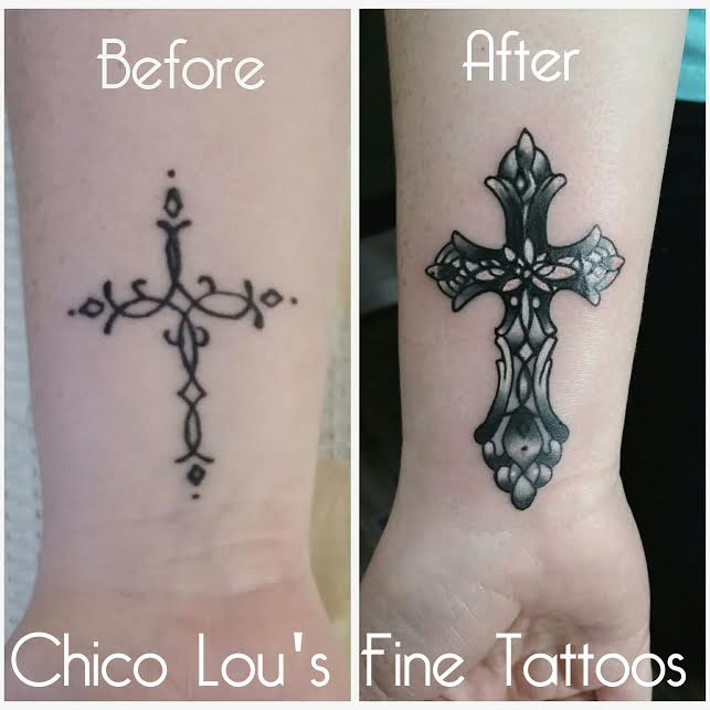Cross cover-up by Chico Lou's Fine Tattoos shop in Athens Georgia GA. Artist - Sara Fogle