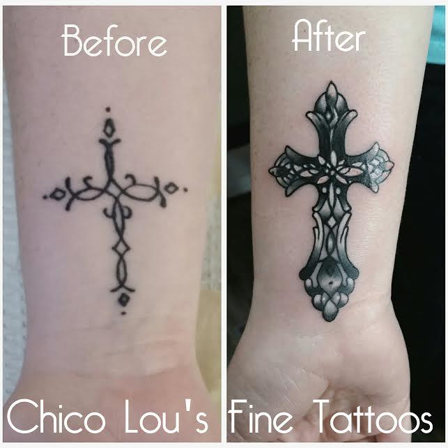 Cross cover-up by Chico Lou's Fine Tattoos shop in Athens Georgia GA. Artist - Sara Fogle