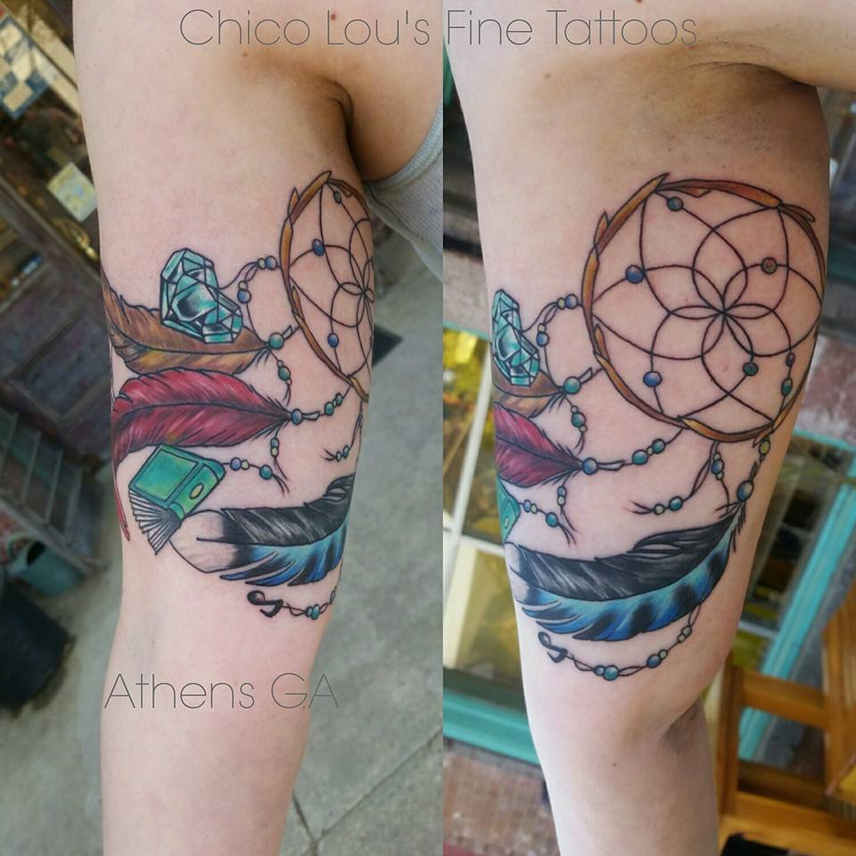 Custom dreamcatcher by Chico Lou's Fine Tattoos shop in Athens Georgia GA. Artist - Sara Fogle