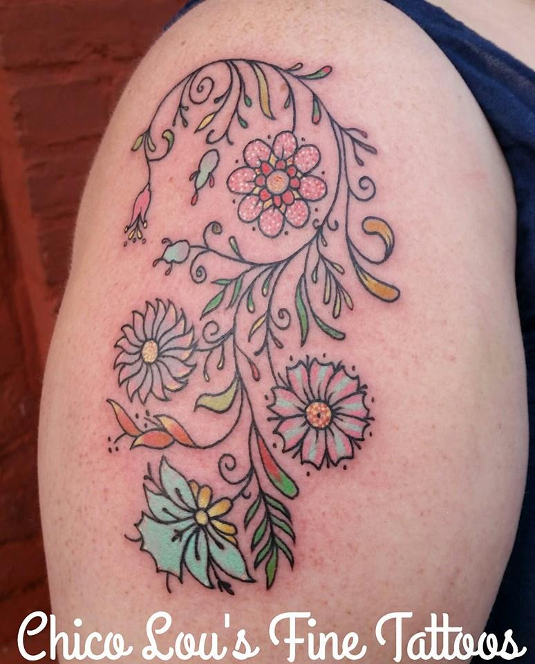 Filigree flowers by Chico Lou's Fine Tattoos shop in Athens Georgia GA. Artist - Sara Fogle