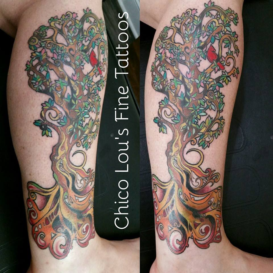Magic tree cover-up by Chico Lou's Fine Tattoos shop in Athens Georgia GA. Artist - Sara Fogle