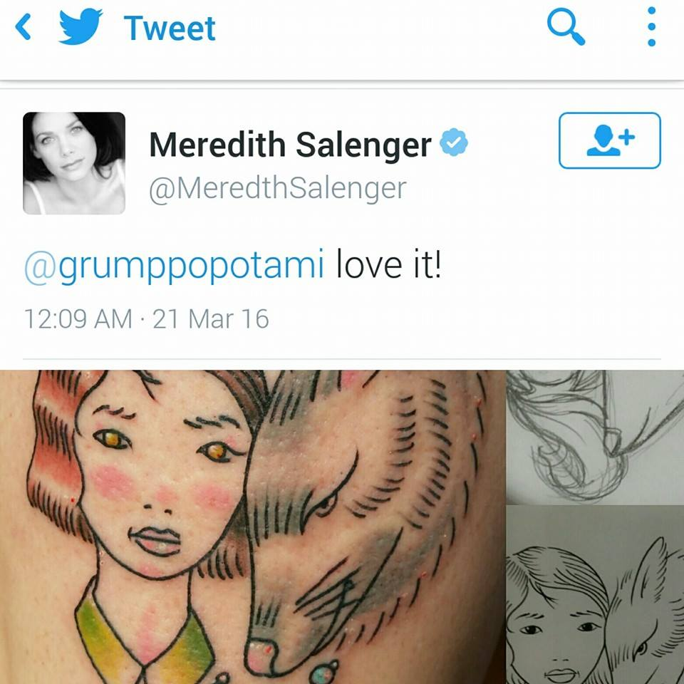 Meredith Salenger response to Natty Gann by Chico Lou's Fine Tattoos shop in Athens Georgia GA. Artist - Sara Fogle