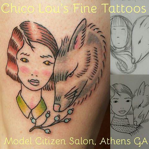 Natty Gann tribute by Chico Lou's Fine Tattoos shop in Athens Georgia GA. Artist - Sara Fogle