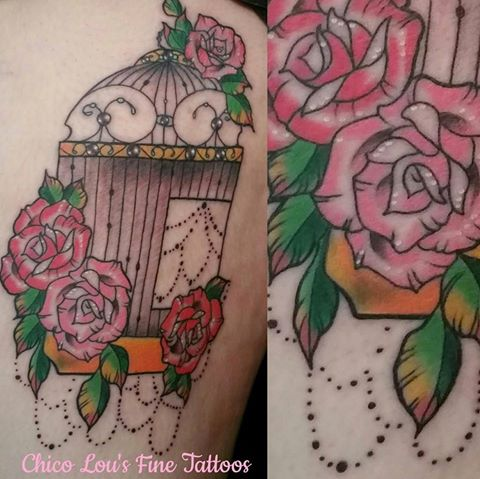Birdcage and flowers by Chico Lou's Fine tattoos shop in Athens Georgia GA. Artist - Sara Fogle