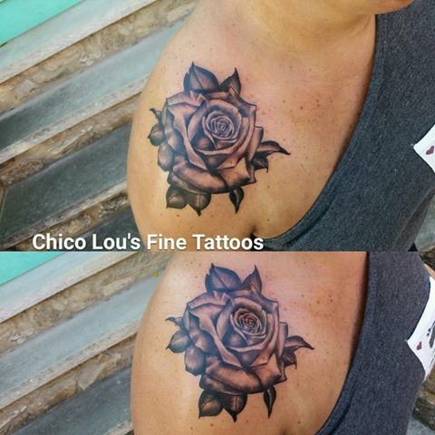 Black and gray rose by Chico Lou's Fine Tattoos shop in Athens Georgia GA. Artist - Sara Fogle