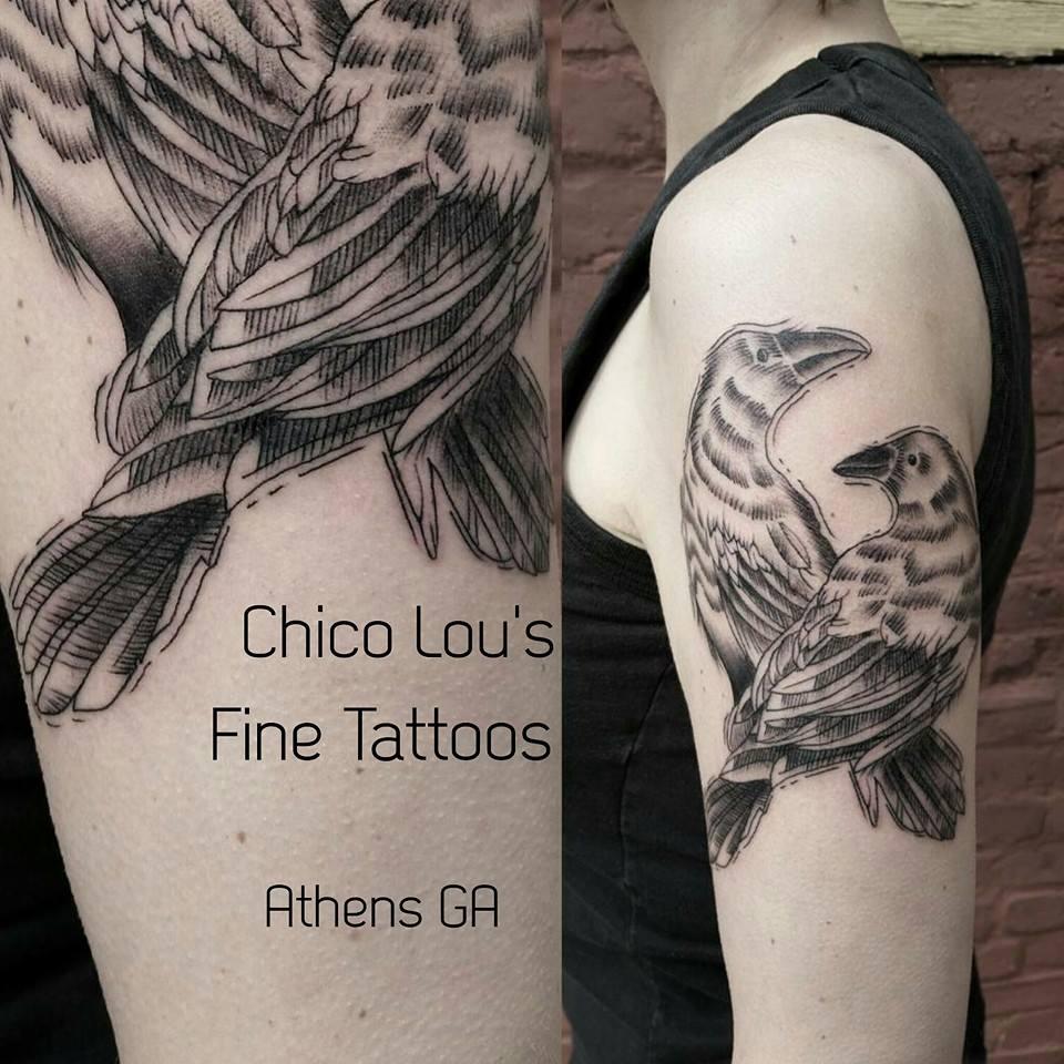 Crows by Chico Lou's Fine tattoos shop in Athens Georgia GA. Artist - Sara Fogle