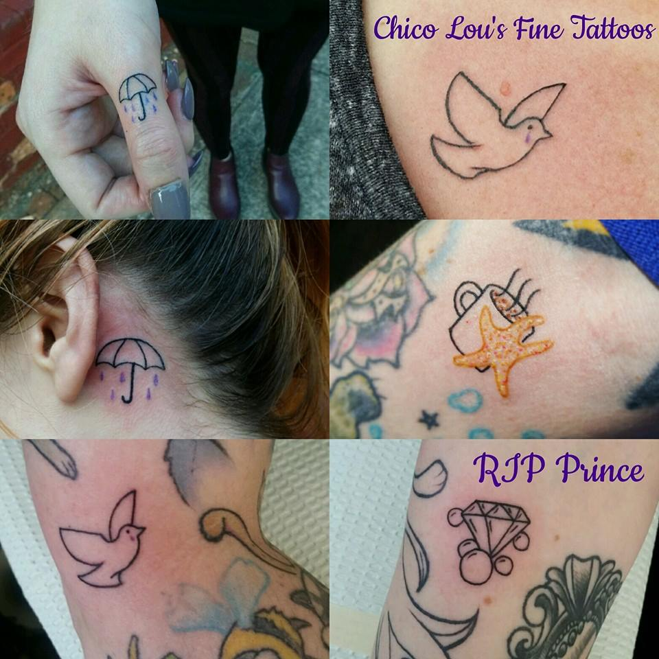 Prince tribute collage (Purple Rain, When Doves Cry, Starfish and Coffee, Diamonds and Pearls) by Chico Lou's Fine Tattoos shop in Athens Georgia GA. Artist - Sara Fogle
